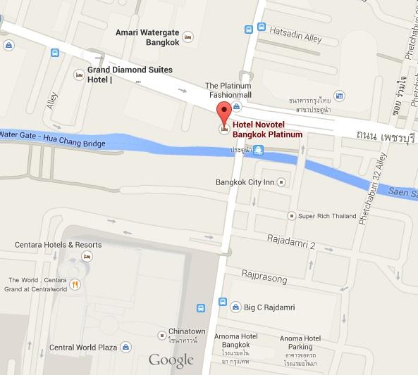 แผนที่ บุฟเฟ่ต์นานาชาติอร่อยๆที่ห้องอาหาร The Squareโรงแรม โนโวเทล แพลตตินั่ม ประตูน้ำ ( Novotel Platinum Pratunam)