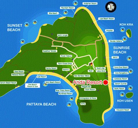 แผนที่ Map อันดา รีสอร์ท (Anda Resort) ที่พักสวยๆ ติดทะเล เกาะหลีเป๊ะ หาดซันไรซ์ บีช โรแมนติกมาก