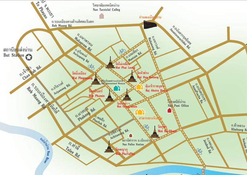 แผนที่ นมัสการพระมิ่งเมือง เสาหลักเมืองน่าน ณ วัดมิ่งเมือง หรือศาลหลักเมืองน่าน