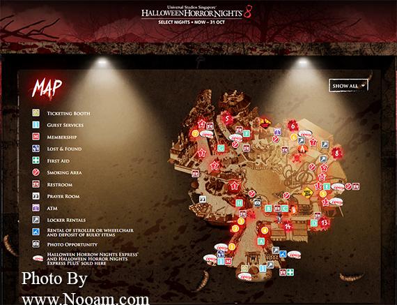 แผนที่ บ้านผีสิงสุดหลอนในงาน Halloween Horror Nights 8 ที่ สวนสนุก Universal Studios สิงคโปร์ 2018